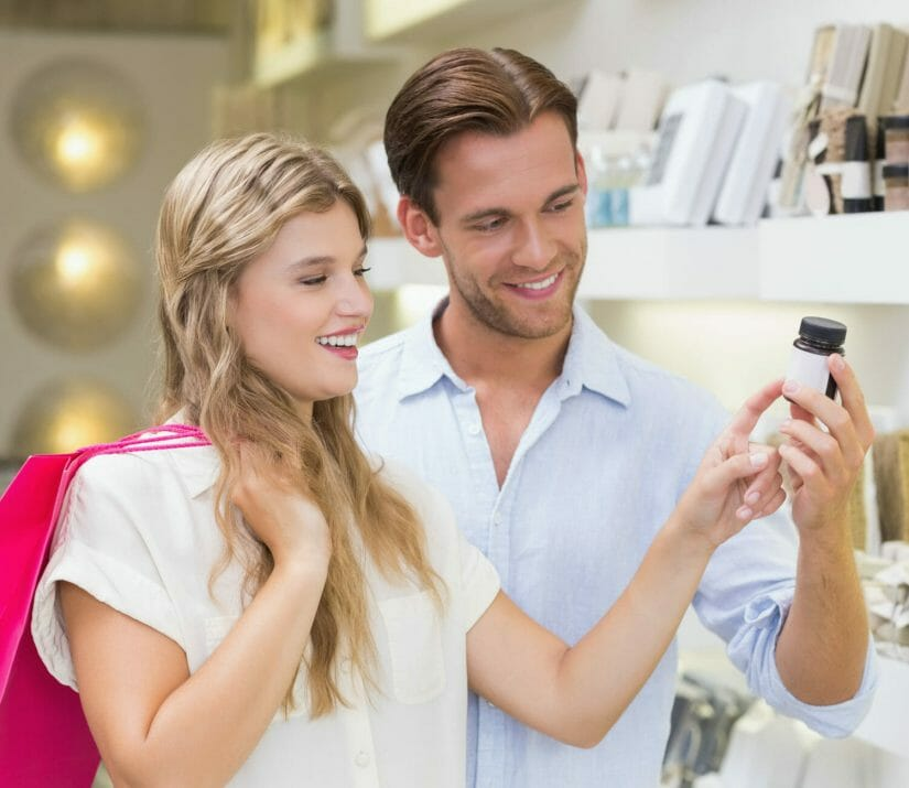 Couple holding a product sample