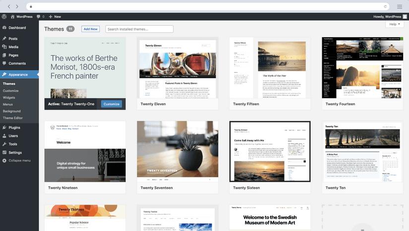 Screenshot of WordPress.